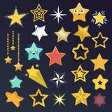 Set błyszczące gwiazdowe ikony w różnym stylu Obraz Stock