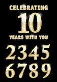 Set błyszczące złote liczby Zdjęcia Stock