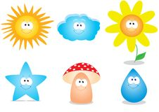 Set babe. Set of vector character of children's sun flower star mushroom cloud droplets Stock Photo