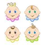 Set of babies avatars. Children's faces. Little boys and girls. Stock Photos