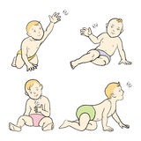 Set of babies, boys and girls. Various poses, first year. Vector. Illustration isolated on white background Stock Photo