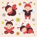 Set of babies in costume ladybug. Ladybug babies. Set of sitting and standing cute happy babies in costume ladybug. Adorable ladybug babies. Flat design.Flat Stock Photography