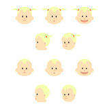 Set of babies faces. Vector illustration. Royalty Free Stock Photo