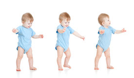Set of babies. First steps. stock photo