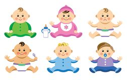 Set of babies in flat style Stock Image