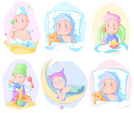 Set  babies isolated on white. Pastel colors,  illustration Stock Photo