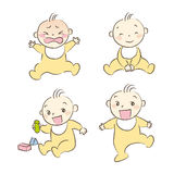 Set of babies various poses and expression Royalty Free Stock Photography