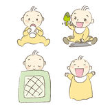 Set of babies various poses and expression Stock Images