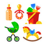 Set of baby accessories and toys Royalty Free Stock Images