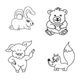 Set of baby animals  Doodles Royalty Free Stock Photography