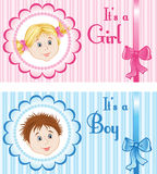 Baby Announcement Cards. Set of Baby Announcement Cards for boy and girl stock illustration