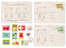 Set of Baby Arrival Postcards with stamps Stock Image