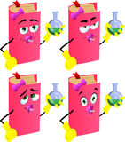 Set of baby book scientist holds beaker of chemicals Royalty Free Stock Photo