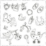 Set of baby born drawings. Sketches. Hand-drawing. Royalty Free Stock Photos