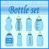 Set of baby bottles for boy in vector EPS Royalty Free Stock Photography