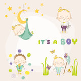 Set of Baby Boy - for Baby Shower or Arrival Card Stock Photography