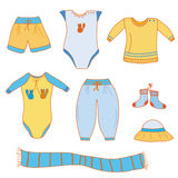 Set of baby boy  clothes Stock Photography