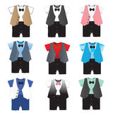Set of 9,Baby boy formal wear Wedding Party with bow tie ,Vector Royalty Free Stock Image