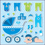 Set of baby boy icons Stock Images