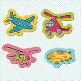 Set of Baby Boy Plane Stickers. For design and scrapbook - in Royalty Free Stock Images