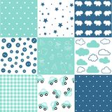Set of baby boy seamless patterns vector illustration