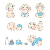 Set of baby boy. Vector illustration Royalty Free Stock Image