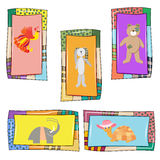 Set of 5 baby cards with cute animals. Firebird, turtle, elephant ,Bunny and bear in the original frame for the holidays, birthday, postcards, and posters royalty free illustration