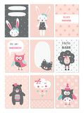 Set of baby cards with cute animals and flower elements. For baby shower, birthday party, invitation royalty free illustration