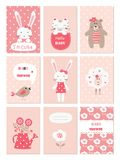 Set of baby cards with cute animals and flower elements. For baby shower, birthday party, invitation stock illustration