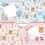 Set of baby cards. Newborn card design. And seamless patterns. Can be used for wallpaper, pattern fills, web page background vector illustration