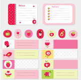 Set of baby cards and templates. Set of romantic cards, notes, stickers, labels, tags with cute baby illustrations. Template for scrapbooking, wrapping stock illustration