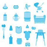 Set of Baby Care and Child Equipment Vectors and Icons Stock Photo