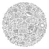 Set of Baby cartoon doodle objects Stock Photos