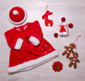 Set of baby christmas clothing Stock Image