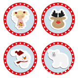 Set baby Christmas stickers. Collection of badges labels Royalty Free Stock Images