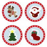 Set baby Christmas stickers. Collection of badges labels for the Stock Photos