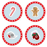 Set baby Christmas stickers. Collection of badges labels Stock Photo