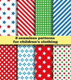 Set baby cloth. Set of eight samples of fabrics for children's clothing. Bright symmetric continuous pattern. Seamless texture. In the illustration used free Royalty Free Stock Image