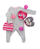 Set of baby clothes for baby girl stock image