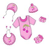 122a set of baby clothes for girl in vector. A set of baby clothes for boy in vector EPS 10 royalty free illustration