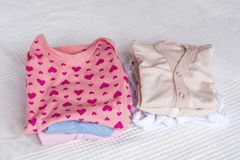 Set of baby clothes stock image