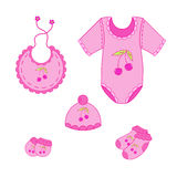 122a set of baby clothes for girl in vector Stock Photo