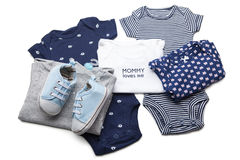 Set of baby clothes. On white background royalty free stock image