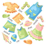 Set of baby clothing. Vector set of baby clothing and accessories Stock Images