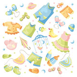 Set of baby clothing. Vector set of baby clothing and accessories Royalty Free Stock Image
