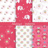 Set of baby cute seamless patterns. With elephants, owls and flowers. Wrapping paper vector illustration royalty free illustration