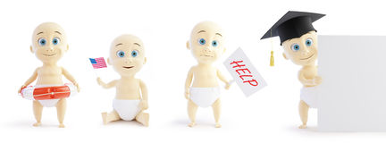 Set baby 3d in different occupations and different objects on a white background 3D illustration Stock Photo
