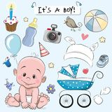 Set of baby design elements. Set of Cute Cartoon baby design elements vector illustration