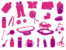 Set of baby elements. Set of pink vector baby elements Stock Photo