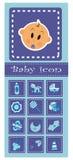 Set of baby elements - blue. Set of baby elements - icons Royalty Free Stock Photo